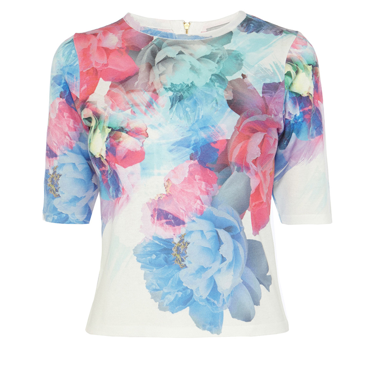 Stylish apparel design all over print flattering fit fashion ladies loose blouse