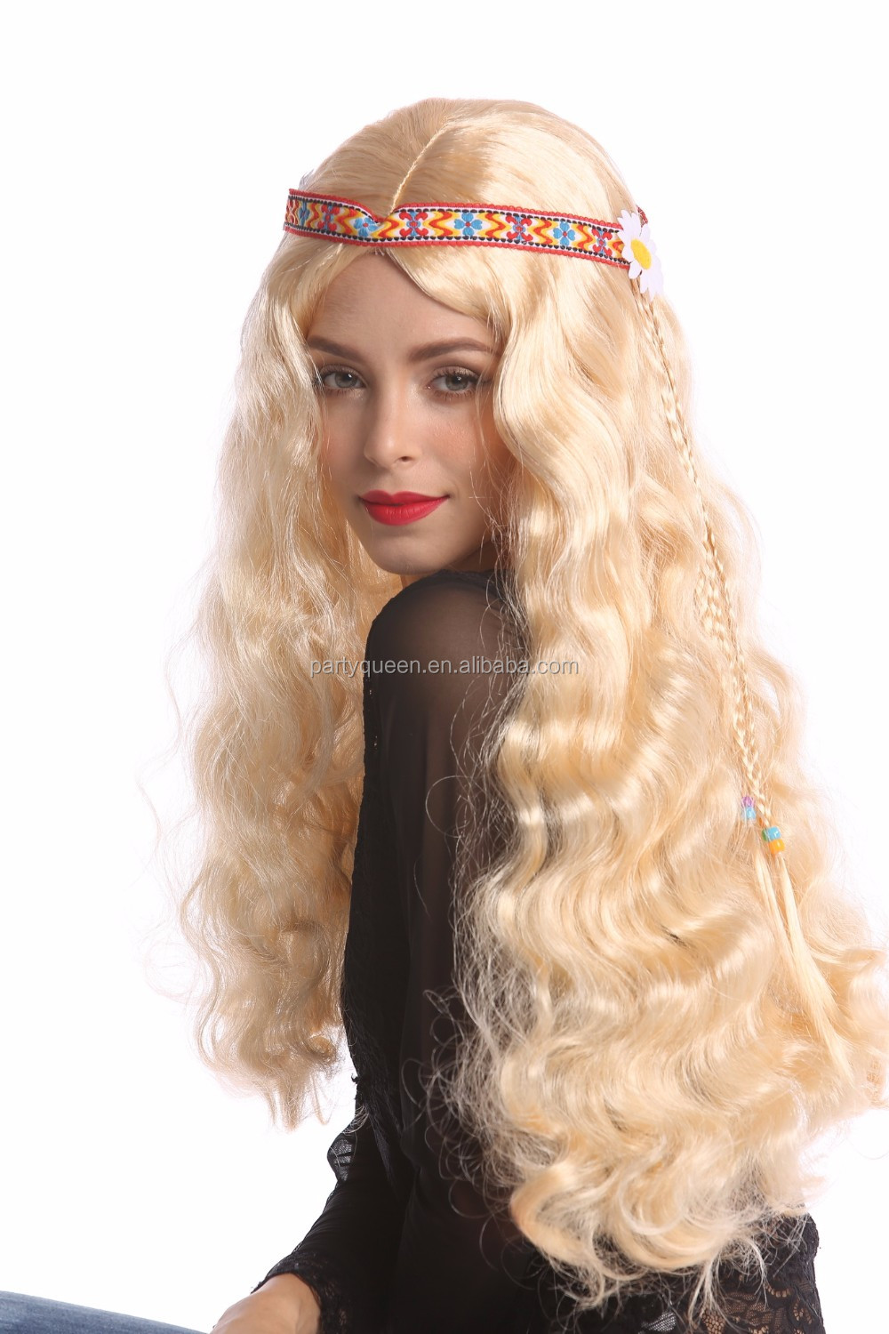 Carnival blond long Hippie wigs P-W254