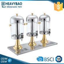 Stainless Steel Buffet Ware Portable Beer Triple Beverage Dispenser For Juice