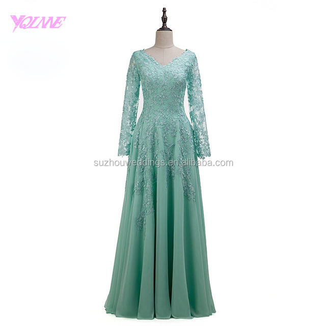 Yqlanbridal Real Photos Bridesmaid Dresses Long Sleeve Mint Chiffon Lace Appliques Wedding Party Dress
