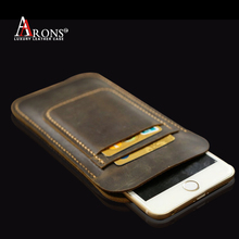 Distressed sleeve with card holder case leather sleeve for iphone 6