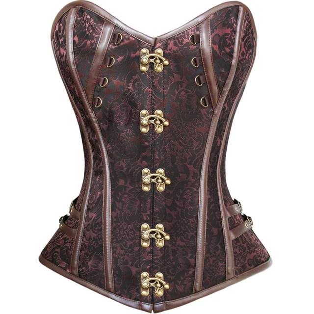 14 Steel Bones Steampunk Corset with Thong women lingerie Vintage Gothic Waist Cincher BODY SHAPER Bustiers Corsets Brazilian