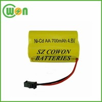 Customized rechargeable ni-cd aa 700mah 4.8v battery pack with customized wire and connector