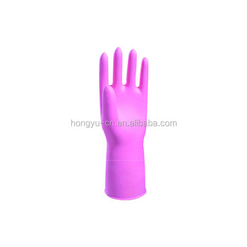 Pink high quality latex female household gloves for cleaning or kitchen gloves
