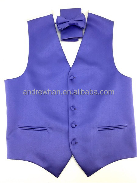 100% Polyester blue micro fiber woven waistcoat /vest bowtie and hanky set