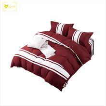 Nantong 90gsm fashion and simple stripe design maroon color 4pcs bedding sets