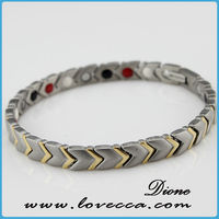 Gold stainless steel wholesale bio 3000gauss magnetic bracelet men