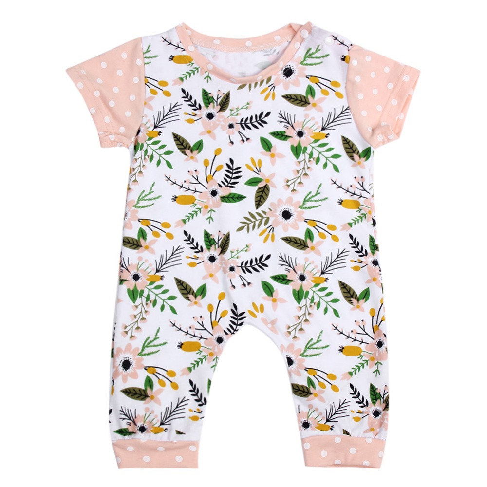 european children clothing girl short sleeve floral print jumpsuit girls soft cotton climb rompers