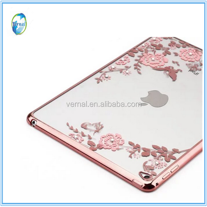 For iPad Mini 4/Mini 2/Mini 3 Case Slim Soft TPU Plating Frame Secret Garden with Diamond Back Cover