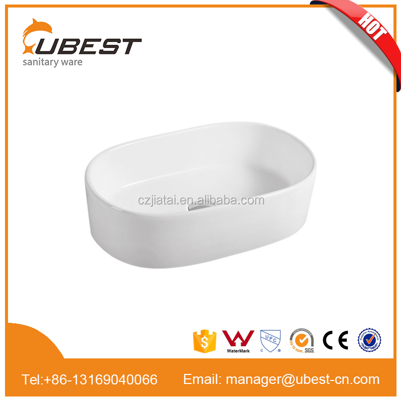 Bathroom fancy above counter basin ceramic wash basin oval shape CE approval