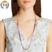 NYQ-00335 latest design colorful cheap plastic bead handmade long rope chain necklace