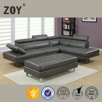 Latest design modern L shaped sectional stationary living room sofa ZOY 9782A