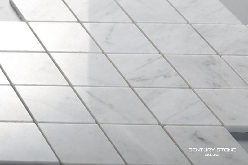 White Bathroom Wall Bianco Carrara Marble Mosaic Diamond Shaped Tile