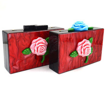Elegant Roses flower party clutch bag acrylic evening bag
