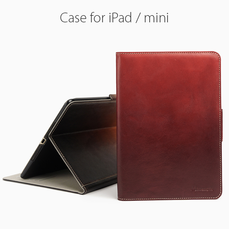 Waxed style red vegetable tanned leather cases for Ipad Air/mini...