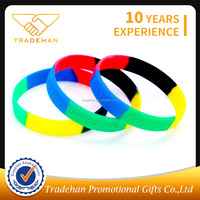 China factory segmented colors silicone wristband braccialetto di silicone