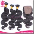 hot dyeable virgin thailand hair weave bundles with lace closure