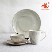 WKTDS01 wholesale 16 pcs Marble Look dinnerware fine bone china ceramic porcelain dinner set