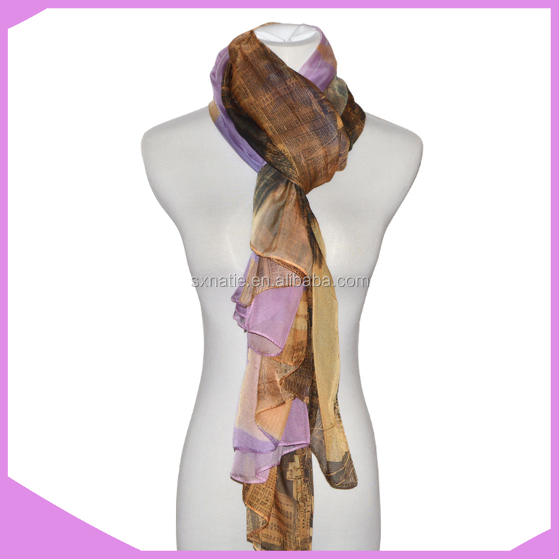 100% Polyester Printed Cheap Fashion Women Voile Scarves