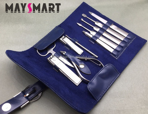 High Quality Stainless Steel 10pcs Manicure Set, Nail Tools And Gromming Kit For Beauty And Personal Care With Blue PU Bag