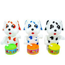 BX194 Fun animal cartoon 3d beat a drum plastic dog toy clockwork toy