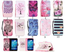 Painted Flip Case Wallet Leather Cover for Samsung Galaxy S4 i9500 Colored Drawing flip case