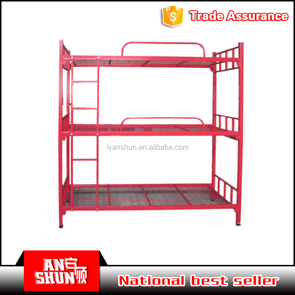 Luoyang ANSHUN Factory cheap metal triple 3 layer bunk beds / 3 person bunk bed