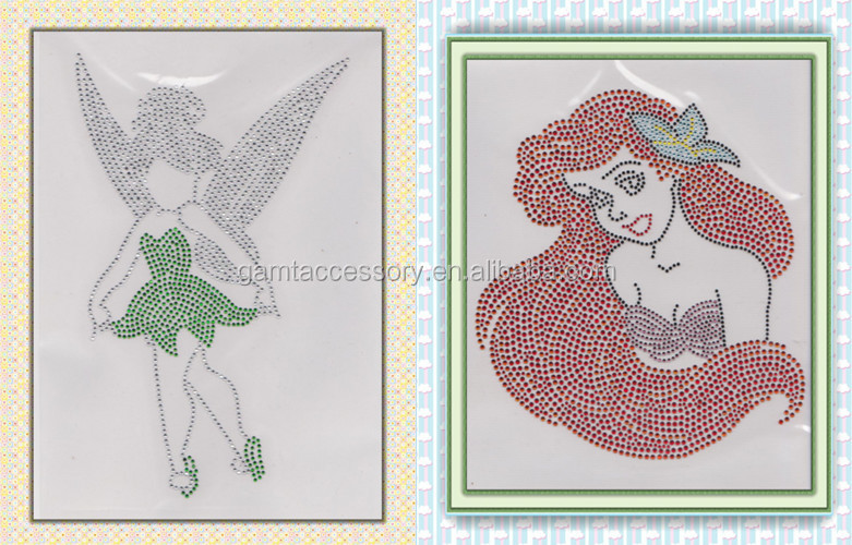 Fashion afro girl glitter & rhinestone transfer for apparel
