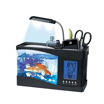 Mini USB LCD Desktop Lamp Light Fish Tank Aquarium LED Clock