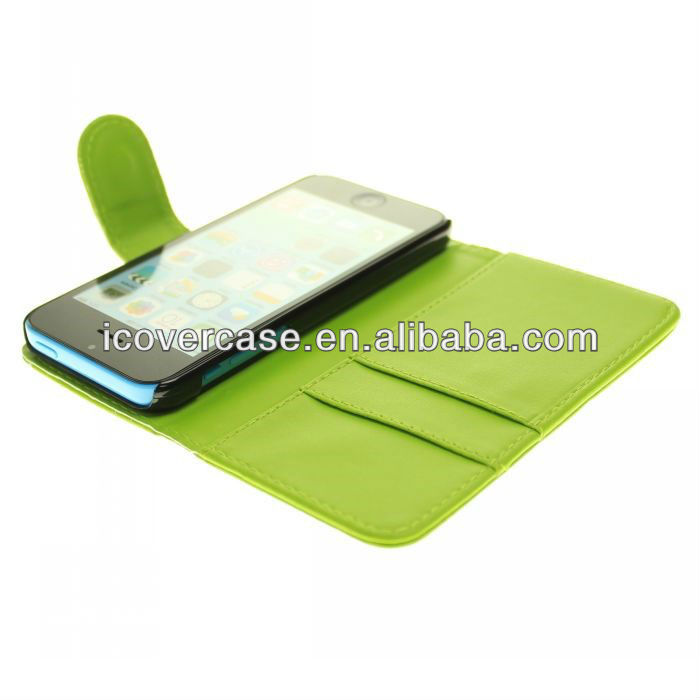 with Credit ID Card Holder PU Leather Case For iPhone 5C