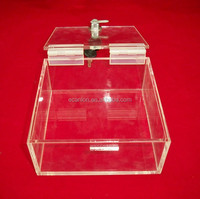 clear Acrylic donation /collection charity box with sign holder and lock