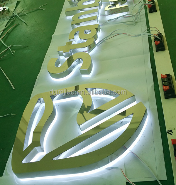 Poslished LED Backlit Led Signs Outdoor Advertising Led Stainless steel letters of guarantee