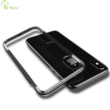 Nonslip Design Electroplating Frame PC TPU Hybrid Clear Bumper Cover Case For iPhone X