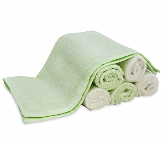 "ULTRA SOFT, 100% Natural Bamboo Towels, No-Dyes, Perfect Gift for Sensitive Baby Skin, 6 Pack 10""x10"" Baby Bath Washcloths"