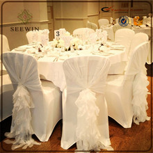 cheap fancy ruffled wrinkled chair cover for wedding ,wedding ruffled chiavari chair cover, chiffon wedding chair hood sash