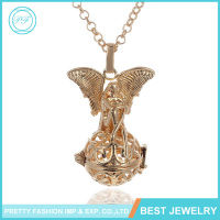 YiWu Wholesale Christianity Caller Pendant Antique Plated Copper Angel Wings Caller Pendant Necklace