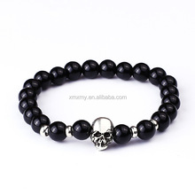 Hot selling All kinds of different natural beaded stone bracelet with skull charm