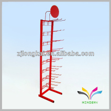 Free standing simple sturdy red tower wire mesh display rack stand