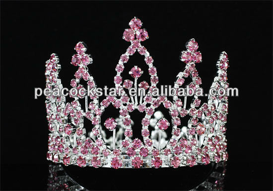 Wholesale Pink Flower Girl / Baby Rhinestone Full Circle Round Mini Tiara Crown CT1741