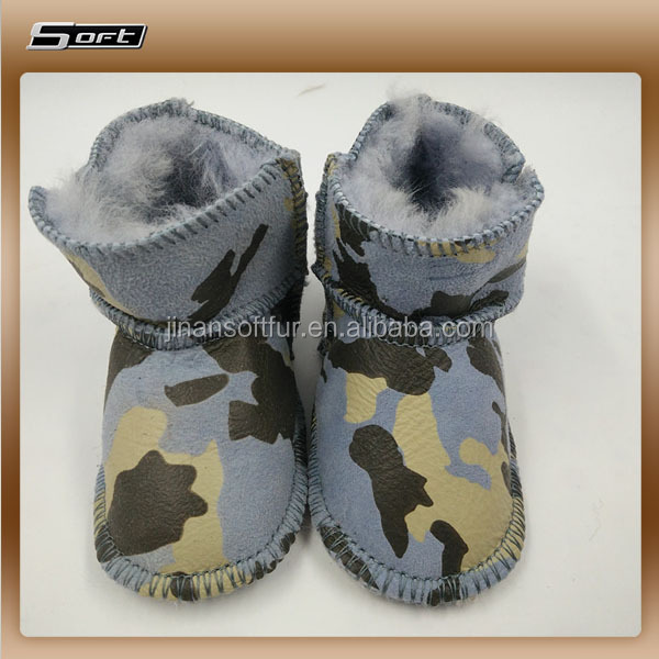 Genuine leather soft sole baby booties in Winter