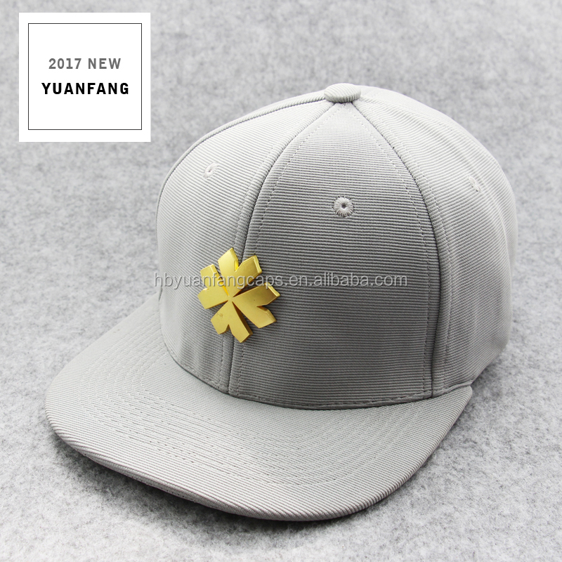 Custom Design Gold Metal Plate Logo Snapback Hats And Caps