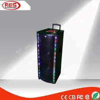 15 inch active 300W pa speaker with bluetooth/fm ratio/remote control/led light/guitar input