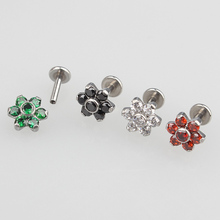 Surgical Steel Internally Threaded Labret Bar Tragus Cartilage Stud with Bezel Set 6 Petal CZ Gem Flower Top