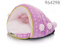 Luxury Pet Cave Half Covered Soft Cozy pet dog sleeping bag bed