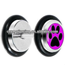 High Quality Cheap Fuchsia Black Paw Print 316L Steel Body Piercing Ear Plugs Jewelry Fake Ear Expander