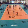 Indoor Orange Color Vinyl Sports Floor Roll for Volleyball Court Gemstone Pattern 8.0mm Thick