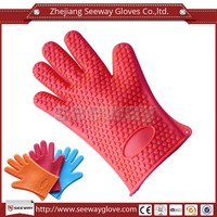 Seeway Red Silicone Coated Heat Resistant BBQ Gloves