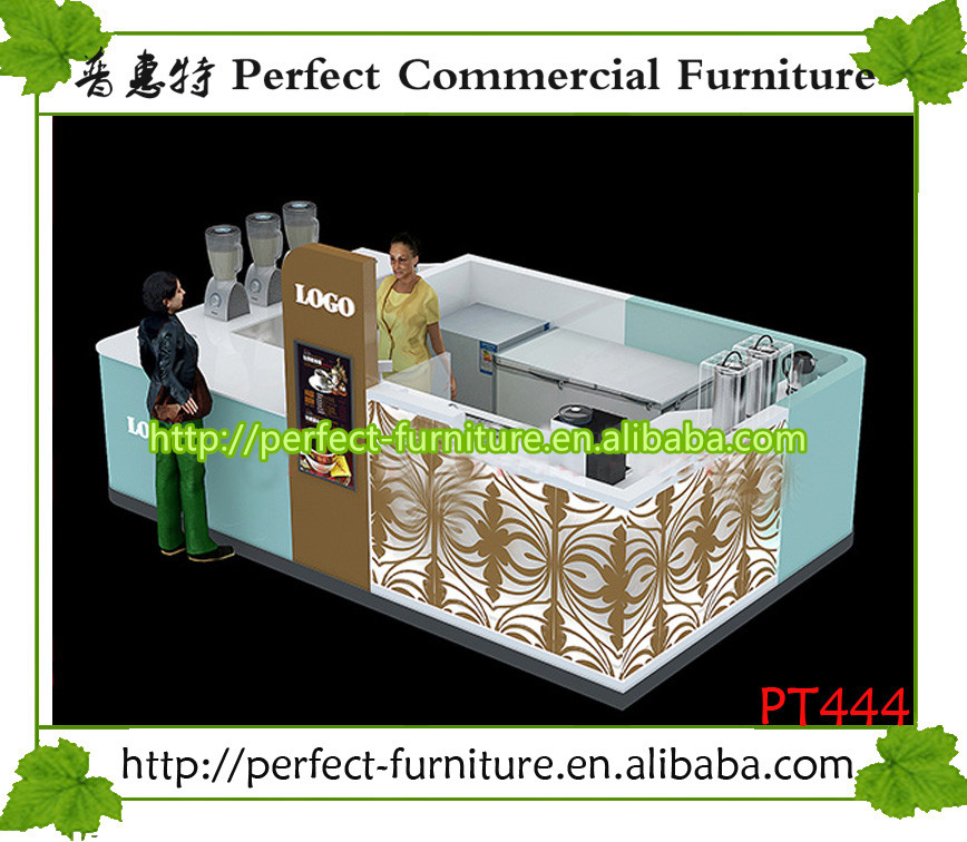 Shopping mall fast food kiosk of bubble tea counter design