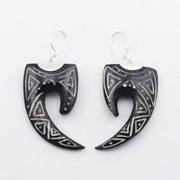 Trendy Hand Carved Silver Water Buffalo Bone Dangle Earrings