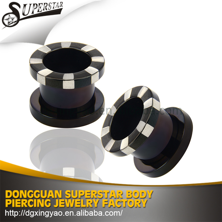 Elegant texture colorful stainless steel ear tunnels